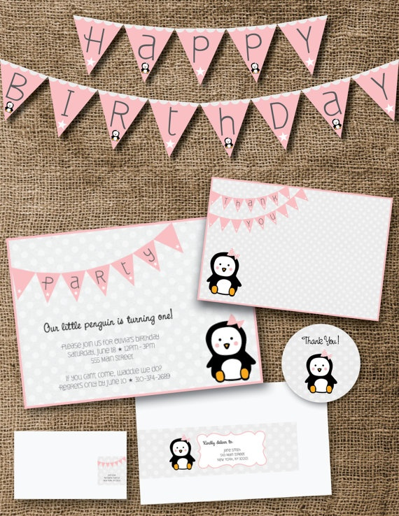 Our most popular product to date! PRINTABLE Custom Children's Penguin Party by silentlyscreaming