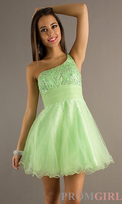 Light Green Dress One Strap 5 Www Promgirl Com Semi