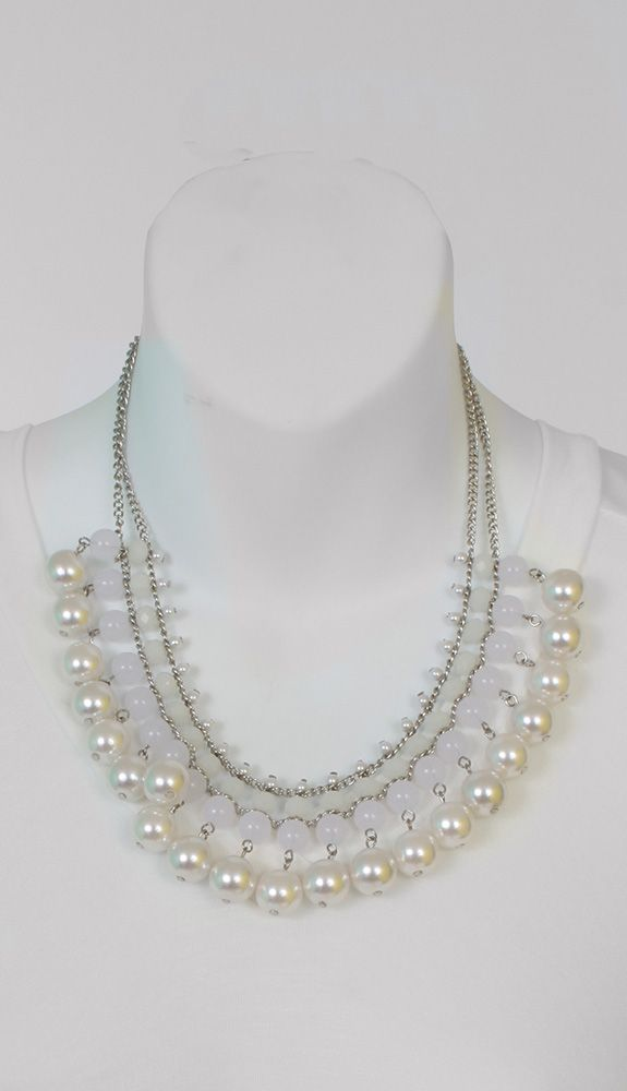 Jewelry : White Pearl Bead Bib Necklace Set
