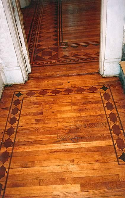 Wood Floor Faux Inlay Boarder Stencil Painted Wood