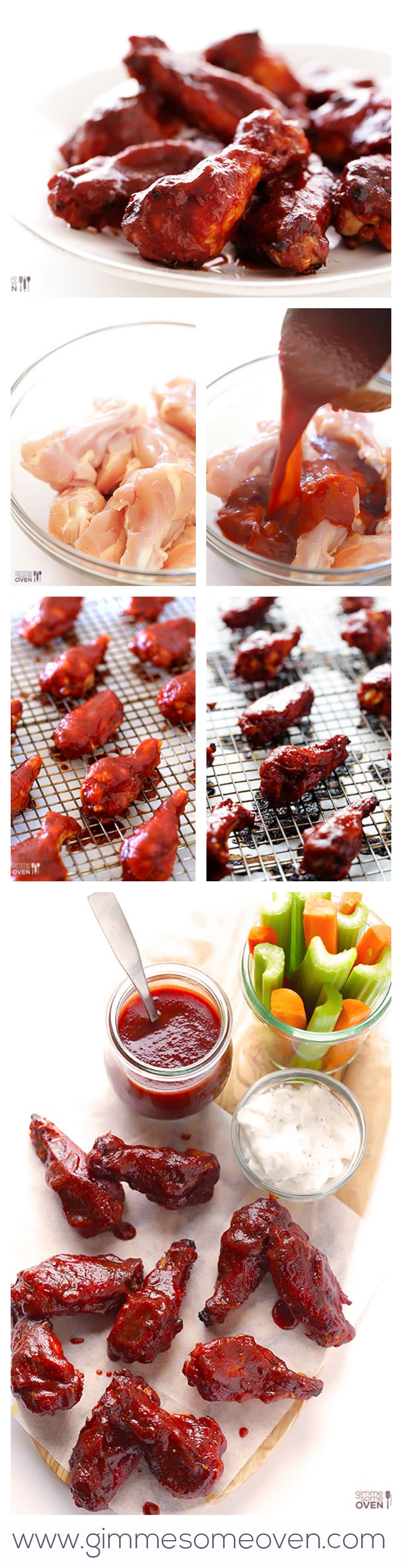 Skinny BBQ Baked Chicken Wings -- made with a heavenly (and healthier!) Kansas City BBQ sauce! | gimmesomeoven.com #gameday #appetizer