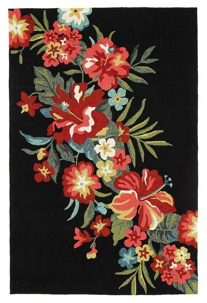 Our Florence 1532 Black Multi Coloured Floral Patterned Outdoor Modern Rug is a beautiful indoor / outdoor rug featuring a stunning floral pattern on a black background