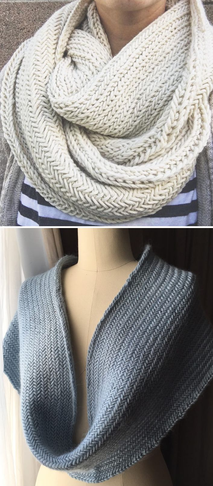 Free Knitting Pattern for 2 Row Repeat Big Herringbone Cowl - This circle scarf is knit in the round with a two row repeat herringbone stitch in a length designed to be wrapped and keep you cozy. Designed byPurl Soho. Pictured projects by thebonvivant and nosmallfeet