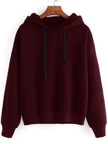 Burgundy Drop Shoulder Hooded Sweatshirt