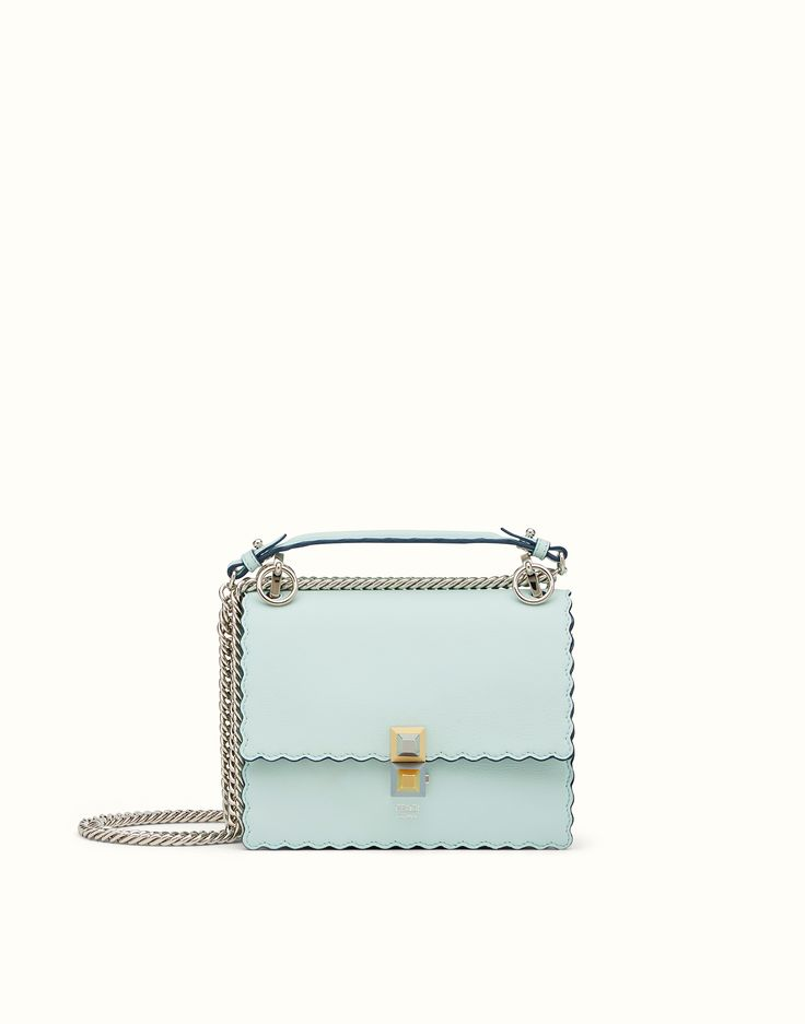 FENDI KAN I - Mini bag in green laminated leather