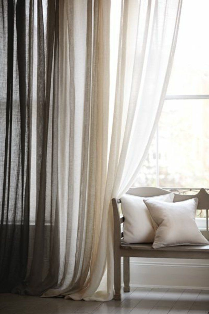 un joli voilage ikea de couleur blanc et gris - Rideaux Gris Voilage De Quel Couleur