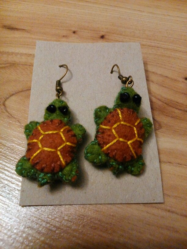Turtles - felted earrings