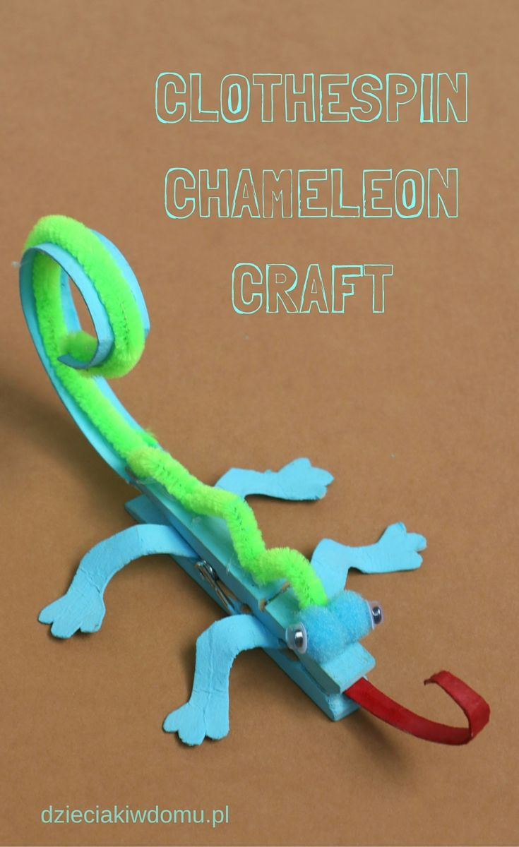 clothespin chameleon craft                                                                                                                                                                                 More