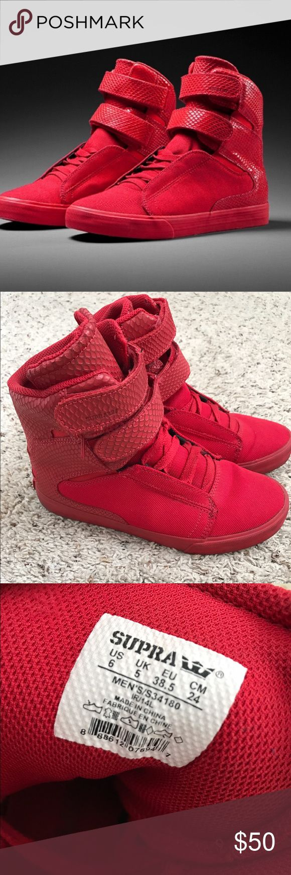 Red Supra Valentines Day Collection Embossed snakeskin and canvas high top sneaker. Worn only a few times. Supra Shoes Sneakers