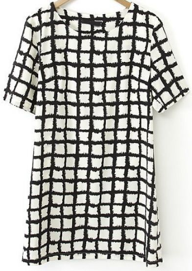 Black White Plaid Short Sleeve Straight Dress