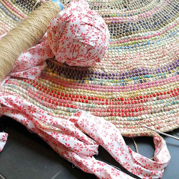 Coiled Rag Rug Instructions: DIY: Coil & Crochet Scrap Fabric Rug By My Poppet