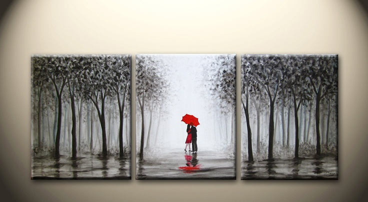 large original abstract painting, kissing in the rain,love couple,black white and red,48x20 inch,on stretched canvas,wedding gift. $189.00, via Etsy.