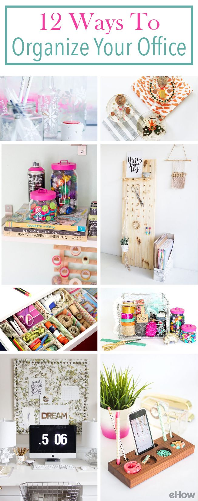 Organize your office to be the exact workspace you want and need!  From a customized peg board, perfectly decorated mason jar organizers and desk organizers. Get the full how-to and list here: http://www.ehow.com/how_6787212_way-organize-office-supplies.html?utm_source=pinterest.com&utm_medium=referral&utm_content=curated&utm_campaign=fanpage
