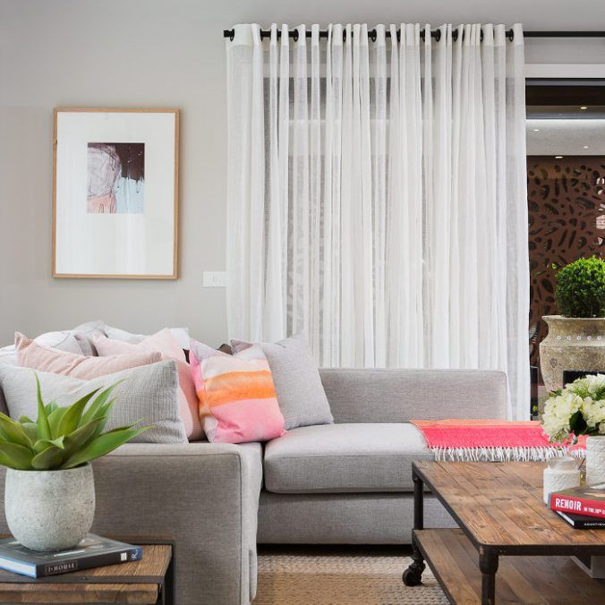 Grey Sofa with Pink Cushion from Metricon Homes on The Life Creative