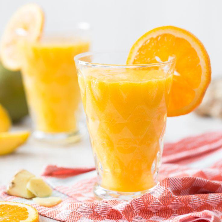 Dass Detox auch elegant sein kann, beweist dieser köstliche Detox-Smoothie aus den gesunden Zutaten Orange, Mango und Ingwer.