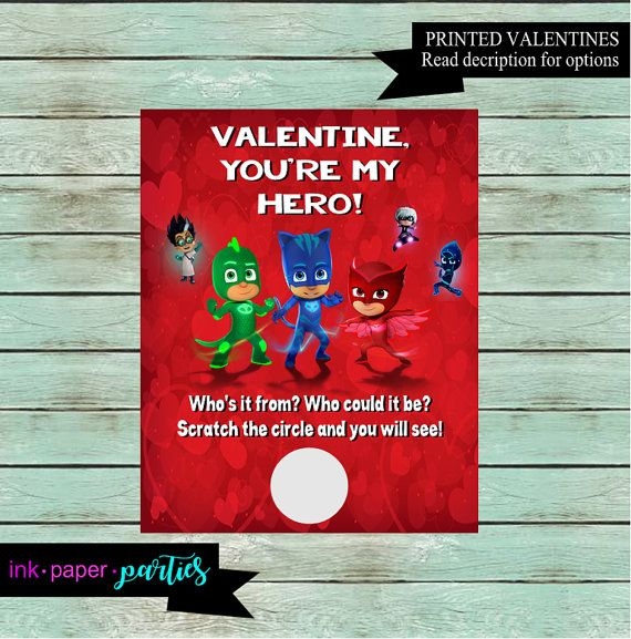 PJ Masks Valentine's Day Valentines Valentine Cards, Scratch to reveal your child's name or photo. Unique Valentine ideas.