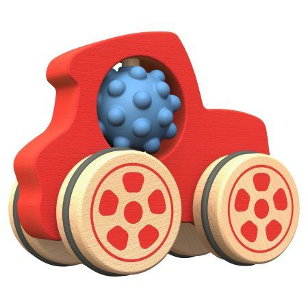 BeginAgain Nubble Rumblers Wooden Truck Toy, Red