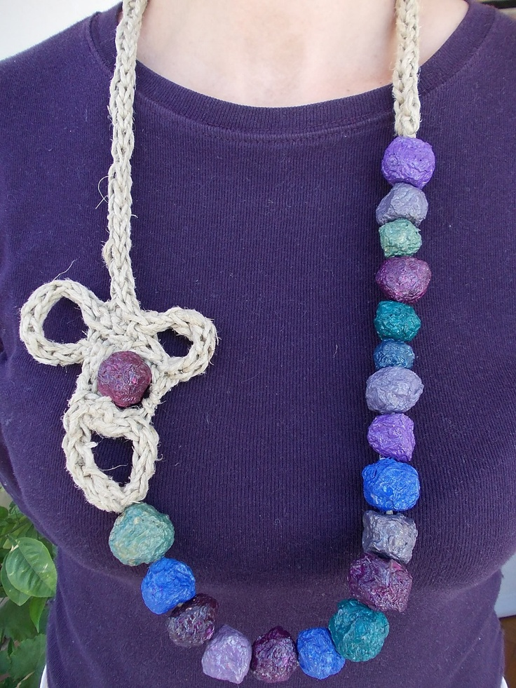 Necklace of colored paper pulp beads.  via Etsy.