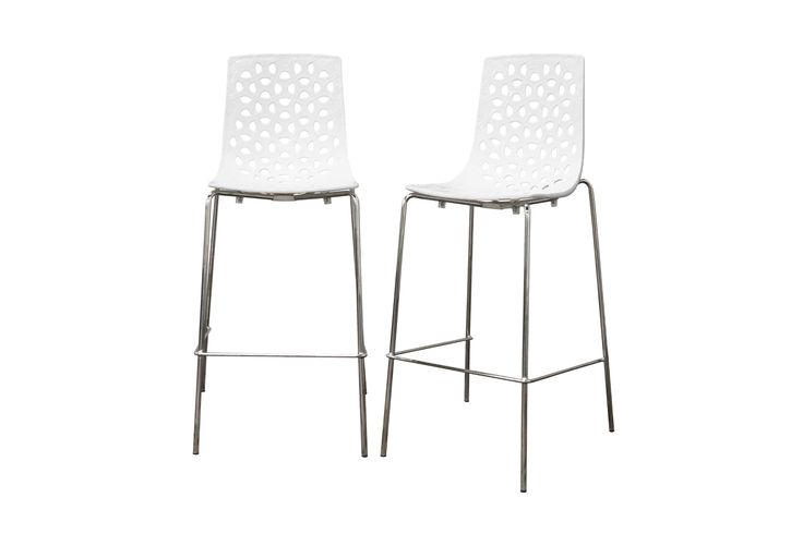 Contemporary White Gloss Barstool Come With Stainless Steel Frame And U Shaped Footrest And Also Four Steel Legs In Chrome