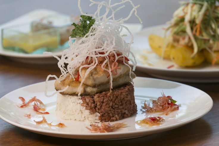 Try guests' favorite Barramundi Ginger Flower – a divine combination of seared Barramundi with crispy glass noodles, ginger flower & cabbage salad with organic raw apple cider vinegar   www.latalianavillas.com/the-details/dining #latalianavillas #roomservice #lunch #luxury #seminyak #bali