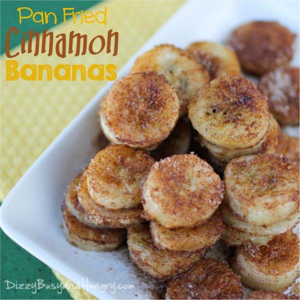 Pan Fried Cinnamon Bananas   DizzyBusyandHungry.com #bananas #cinnamon
