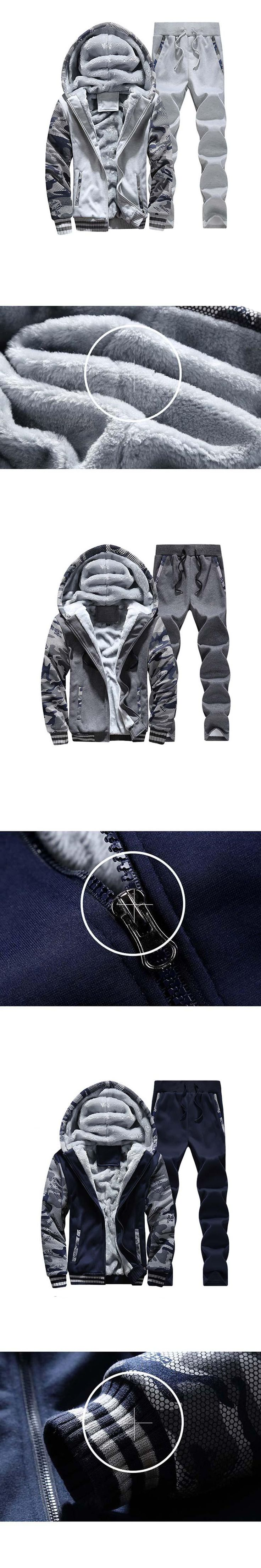 Men's Sets Men Winter Brand Plus Mens Thickened Hoodie Suit Male Cardigan Zipper Tracksuits Sets Two-Piece Pants Sportswear