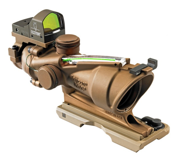Trijicon ACOG 4x32 Scope, Dual Illiminated Green Crosshair .223 Ballistic Reticle, w/ RMR Sight, Dark Earth Brown TA31-ECOS-G