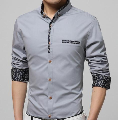 Mens Button Down Shirt with Floral Trim