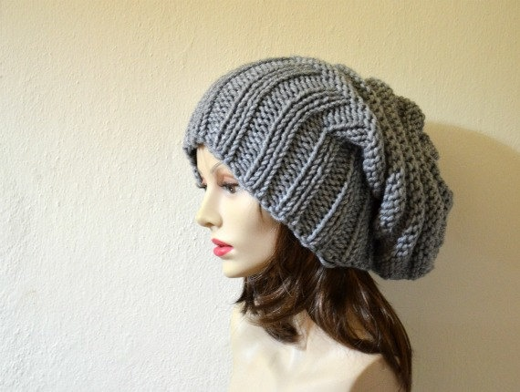 Knit Hat - Slouchy Hat - Slouchy Beanie - Fashion - Winter Accessories - Fall Fashion - Chunky Knit. $38.00, via Etsy.