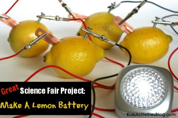 make lemon battery investigatory project The copper and zinc metal act as positive and negative battery terminals (cathode and anode)the zinc metal reacts with the acidic lemon juice (mostly from citric acid) to produce zinc ions (zn 2+) and electrons (2 e-)the zinc ions go into solution in the lemon juice while the electrons remain on the metal.