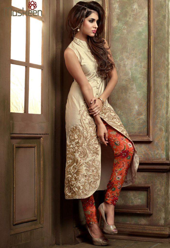 Cream Silk Georgette Salwar Kameez 34893