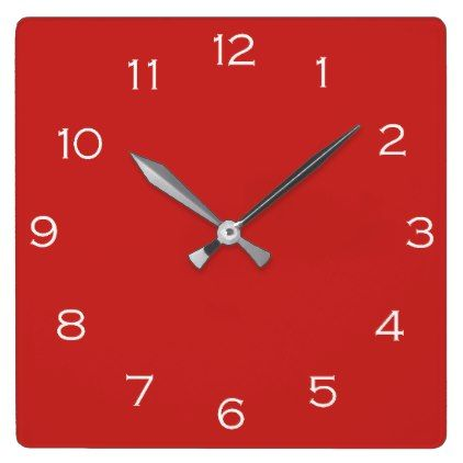 White Numbers On Red Wall Clock - red gifts color style cyo diy personalize unique