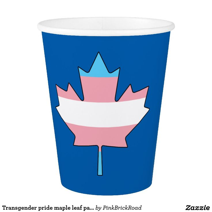 Transgender pride maple leaf paper cup