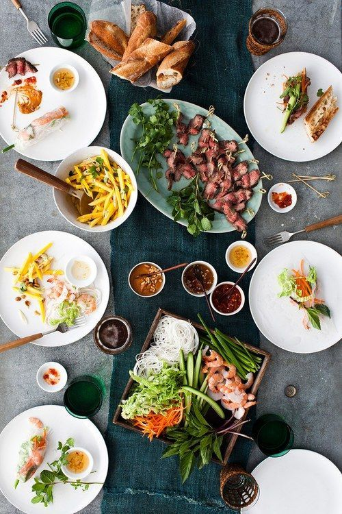 Love this spread - summer rolls, salads, sauces - perfection!