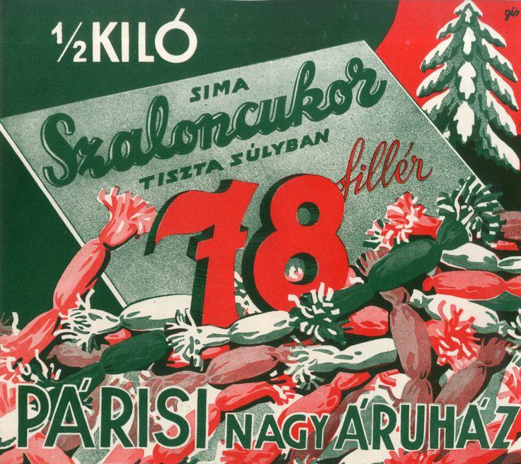 1/2 kiló Sima szaloncukor tiszta súlyban 78 fillér, 1938