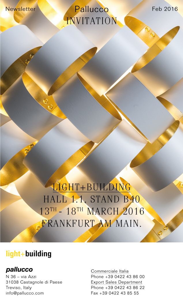 Pallucco at light+building, 13th-18th March, Farkfurt Am Main CONTACTS