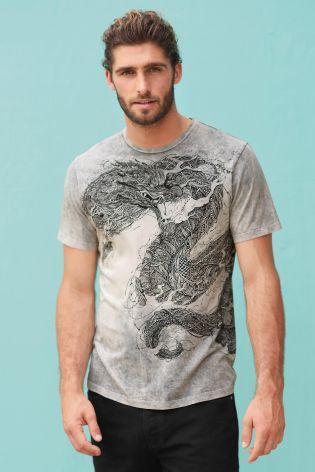 T-shirt grigia dip-dye con drago