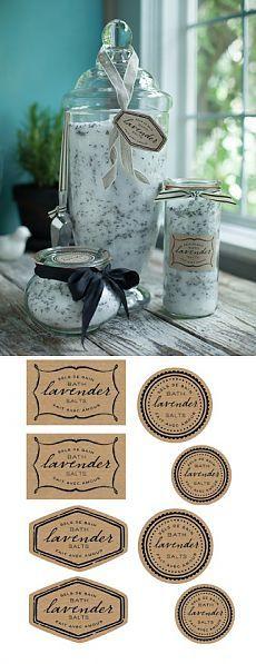 Лавандовая соль для ванны. Рецепт и этикетки | LaChat