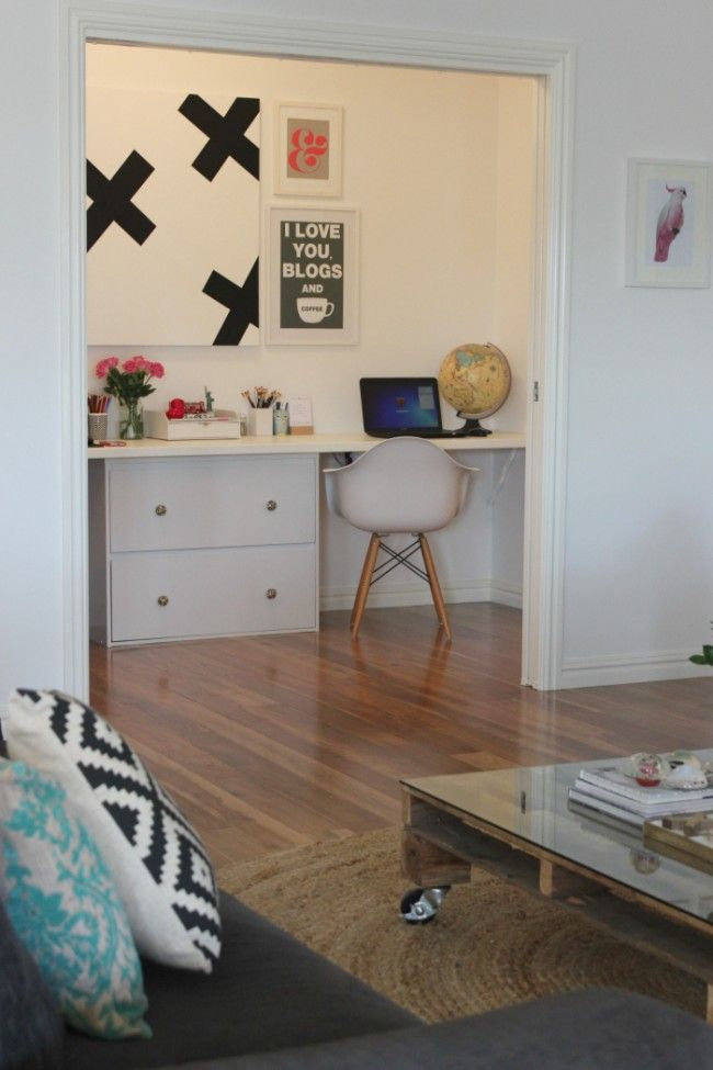 Office room/nook with big sliding doors to open up or shut off. I like!