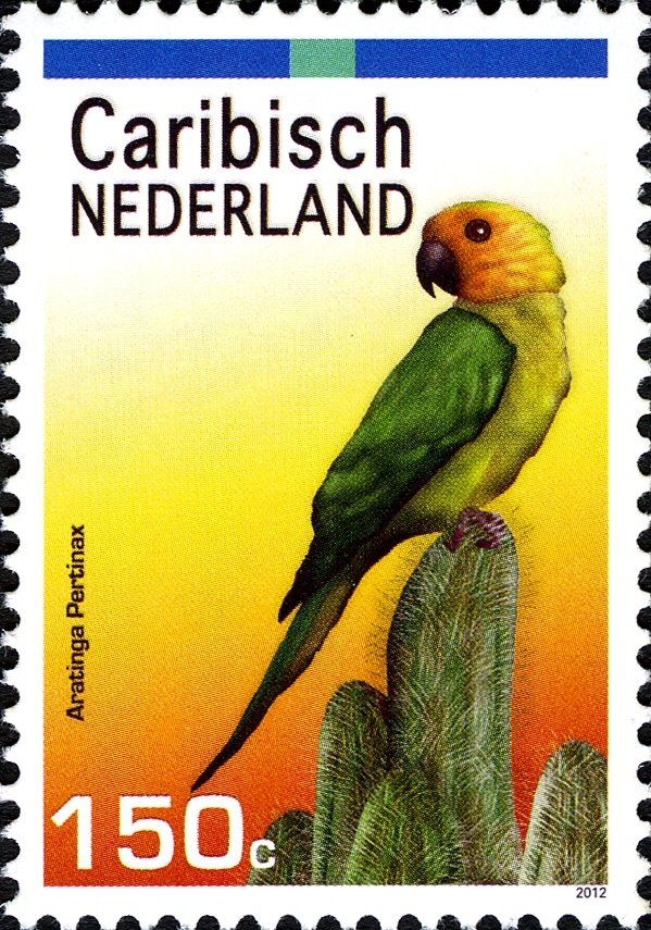Stamp: Brown-throated Parakeet (Aratinga pertinax) (Caribbean Netherlands) (Parrots) Mi:BQ 28,Sn:BQ 28,WAD:BQ006.12