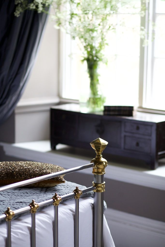 Detail of the bronte bed from and so to bed in lacquered steel with brass