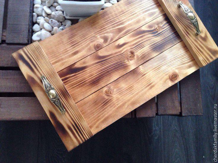 Купить Деревянный поднос с ручками - бежевый, коричневый, поднос, деревянный поднос, поднос для кухни