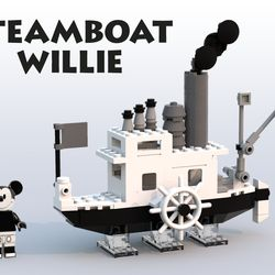 Steamboat Willie is the first fully synchronized sound cartoon directed by Walt Disney and Ub Iwerks. It was the debute of Mickey Mouse in a cartoon the first to be distributed and the third to be produced. So as an animator and a Lego fan I'd like to pay my respect to that marvelous production, which since was created then inspired a lot of talented artists. Because Disney Minifigures arrived, I have the luck to create a Mickey Mouse related set with him as well. In addition I repaint the…