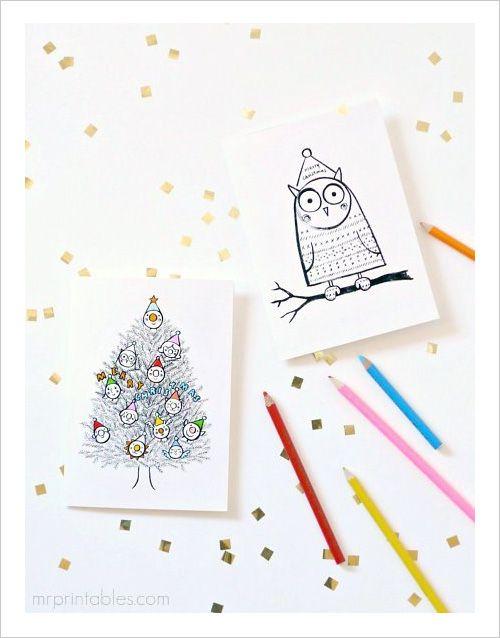 Free Christmas Cards to Color Pinned by www.myowlbarn.com