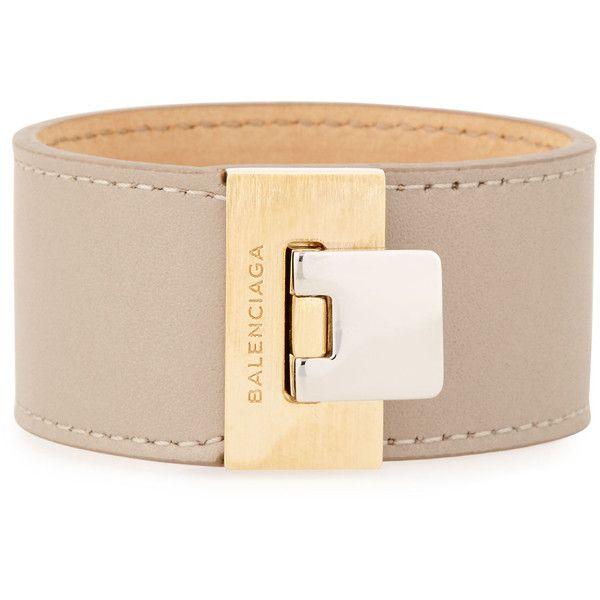 Balenciaga Le Dix Leather Cuff Bracelet (23.665 RUB) ❤ liked on Polyvore featuring jewelry, bracelets, beige lin, balenciaga jewelry, cuff bangle, balenciaga and cuff jewelry