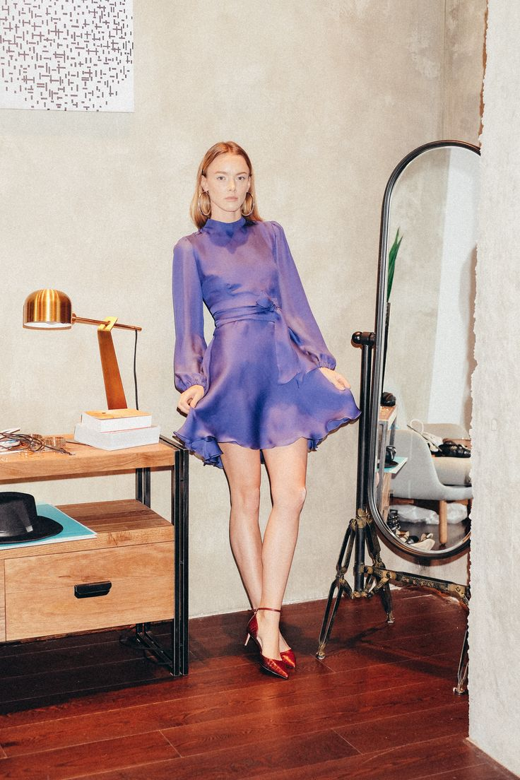 Beresta autumn - winter 2017 , look book, silk dress, blue dress, голубое шёлковое платье
