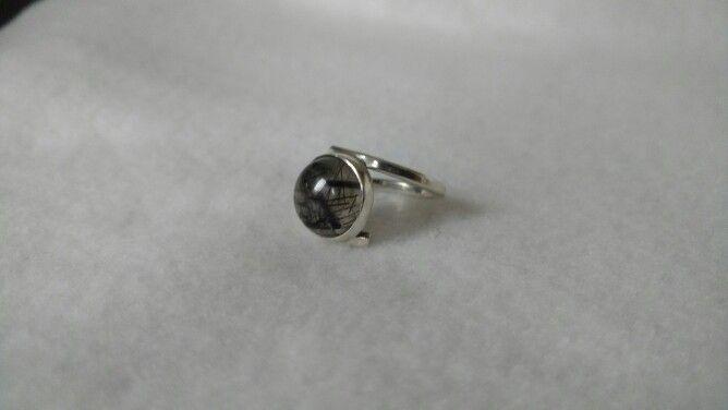 Anillo plata 925 con cuarzo turmarinado