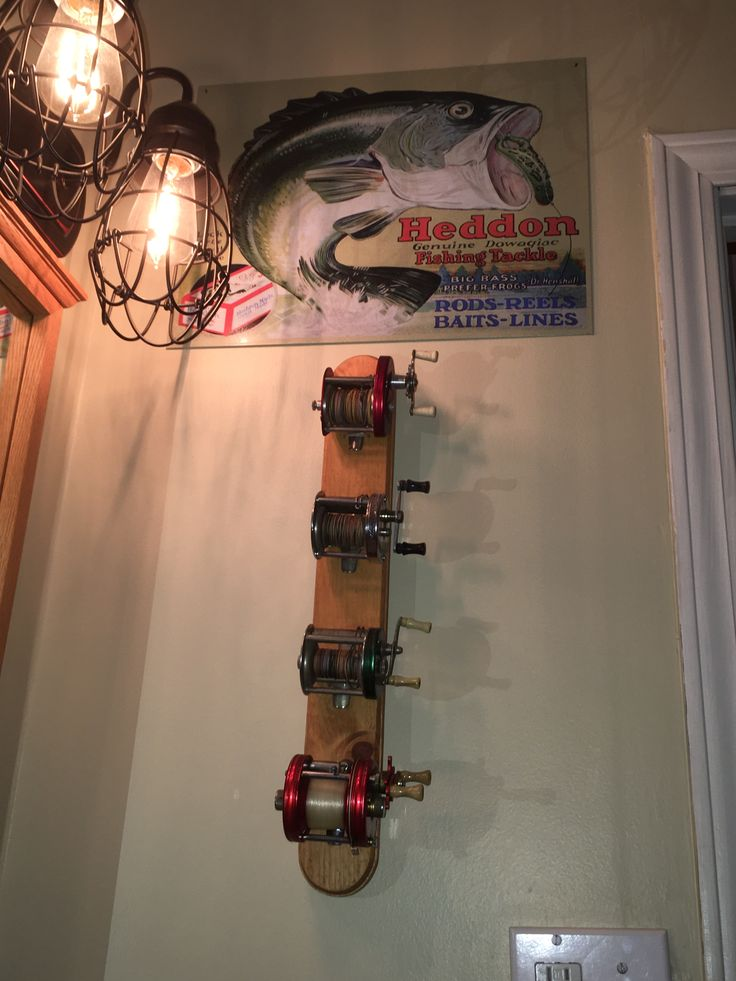 Photo By Ken Hallemeier May Not Be Reproduced Without Written Permission Vintage Reel Display Made By Ken Hallem Fishing Room Decor Fishing Room Fishing Decor