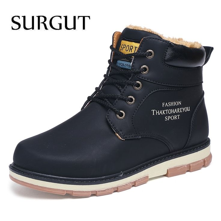 MIOHS Fashion Men Boots Winter With Fur  Leather Shoes Men Warm Casual Boot Male
