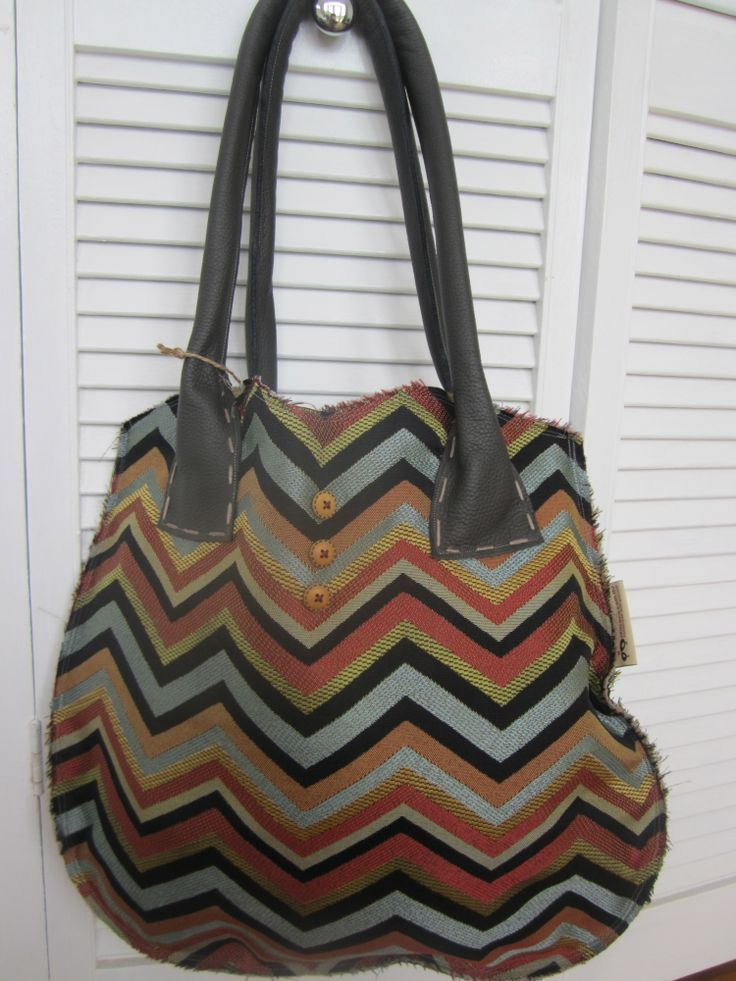 Upholstery chevron tote bag with brown leather handles